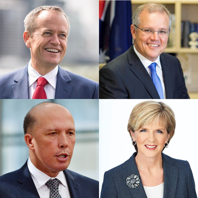 Bill Shorten v Scott Morrison v Julie Bishop v Peter Dutton