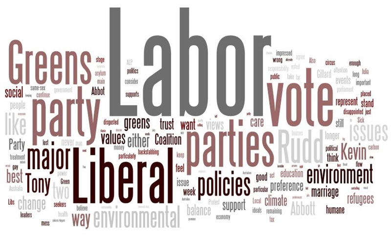 This wordle shows the reasons given by electors for supporting the Greens.