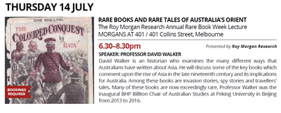 Melbourne Rare Book Week - Rare Books and Rare Tales of Australia's Orient - Thursday July 14, 2016