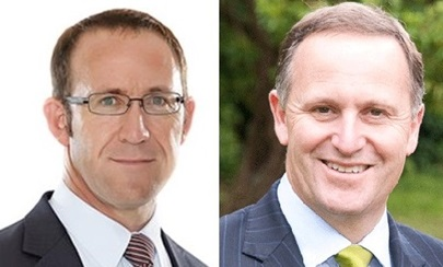New Zealand Prime Minister John Key and Opposition Leader Andrew Little