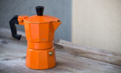 Orange-stove-top-coffee-pot