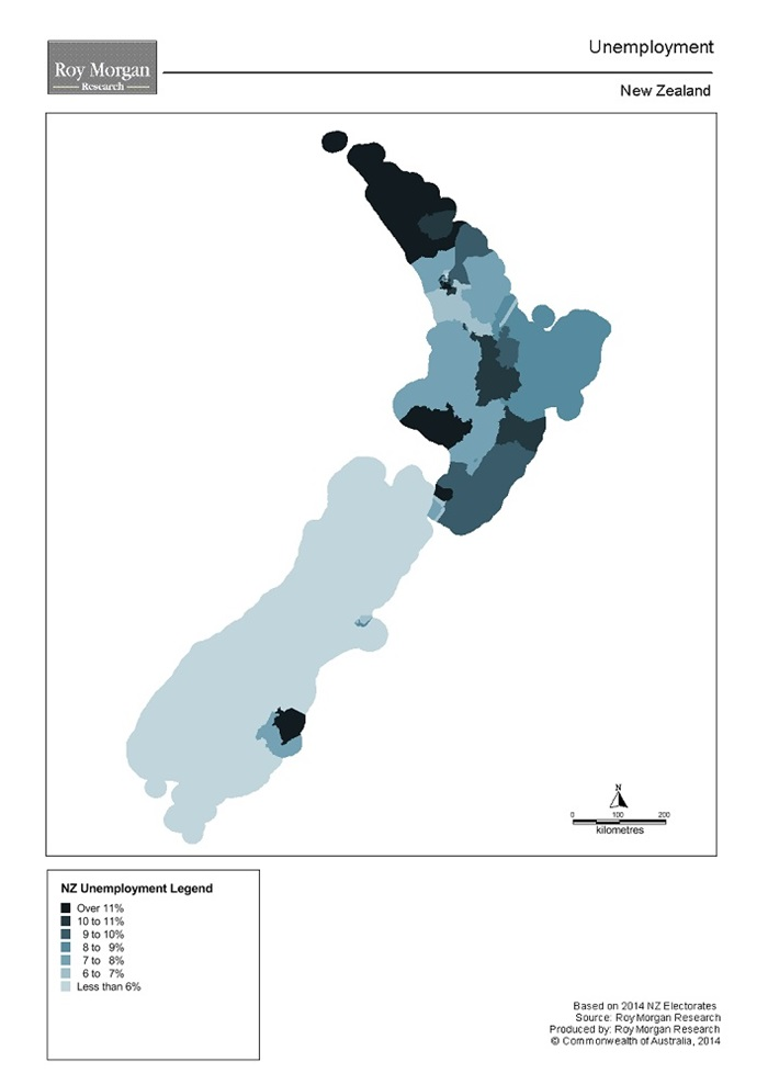 Roy Morgan New Zealand Electorate Map - Unemployment