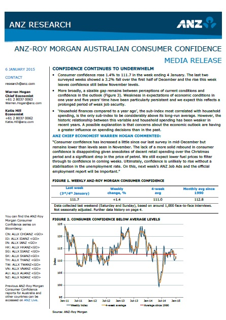 ANZ-Roy Morgan Australian Consumer Confidence Rating - January 6, 2015 - 111.7